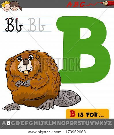 Letter B With Cartoon Beaver