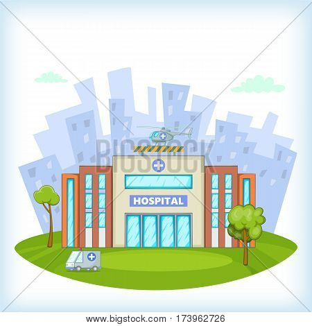 Hospital concept. Cartoon illustration of hospital vector concept for web