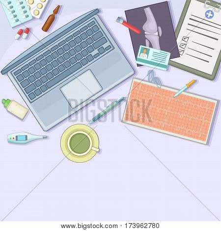 Medicine concept workstation. Cartoon illustration of medicine vector concept for web