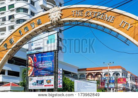 PATTAYA THAILAND - JANUARY 24: This is a sign Pattaya before going into the main town which has missing letters and should read as Pattaya The Extreme city on January 24 2017 in Pattaya