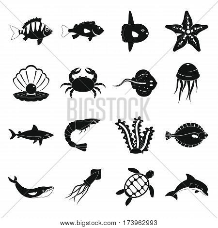 Sea animals icons set. Simple illustration of 16 sea animals vector icons for web