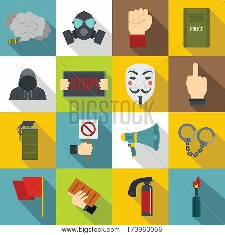 Protest icons set. Flat illustration of 16 protest vector icons for web