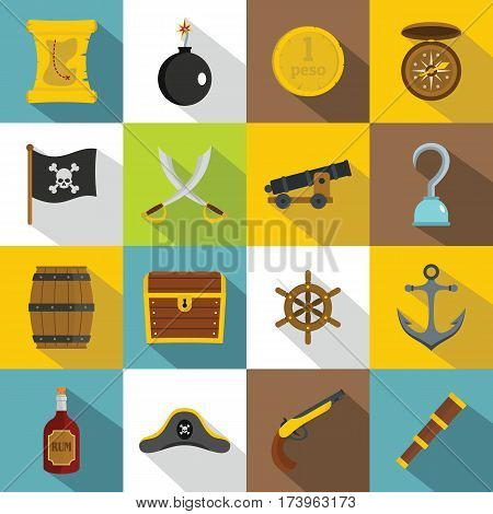 Pirate icons set. Flat illustration of 16 pirate vector icons for web