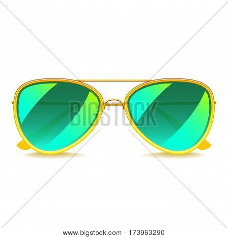 Green mirror sunglasses isolated on white photo-realistic vector illustration