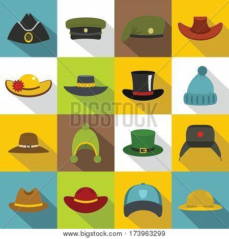 Headdress hat icons set. Flat illustration of 16 headdress hat vector icons for web