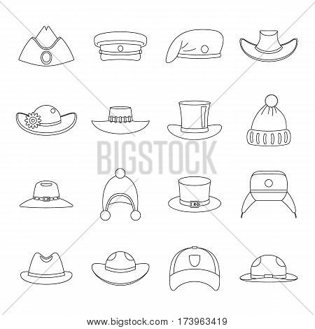 Headdress hat icons set. Outline illustration of 16 headdress hat vector icons for web