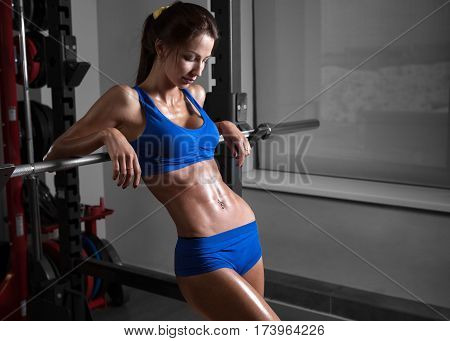 Young beautiful athlete woman in the gym. Perfect body, tanned skin, amazing figure, thin waist.