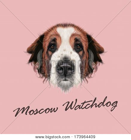 Vector illustrated Portrait of Moscow Watchdog dog. Cute face of domestic breed dog on pink background.
