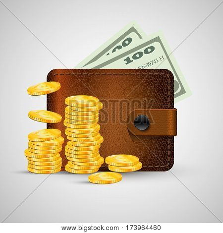 Leather wallet with golden coins stack and green dollar. Vector illustration, eps 10. Brown wallet with money isolated with shadow.