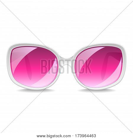 Large pink sunglasses isolated on white photo-realistic vector illustration