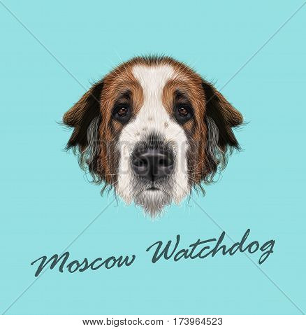Vector illustrated Portrait of Moscow Watchdog dog. Cute face of domestic breed dog on blue background.