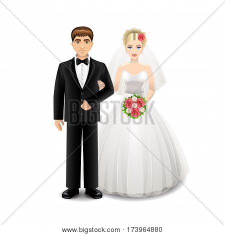 Newlyweds isolated on white photo-realistic vector illustration