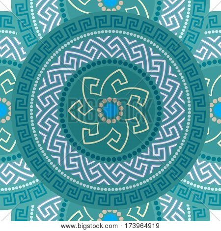 Traditional seamless vintage circle shaped ornate elements with Greek ornament in blue colors. Can be used for wrapping paper, fabric, ceramic. Vector illustration