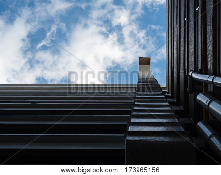 Air duct and ventilation system on blue sky