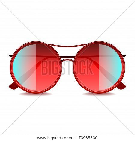 Round red sunglasses isolated on white photo-realistic vector illustration