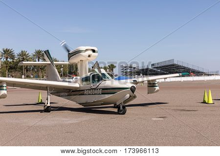 ST. PETERSBURG USA - FEBR 16 2017: A seaplane on the runway. Plane Lake.