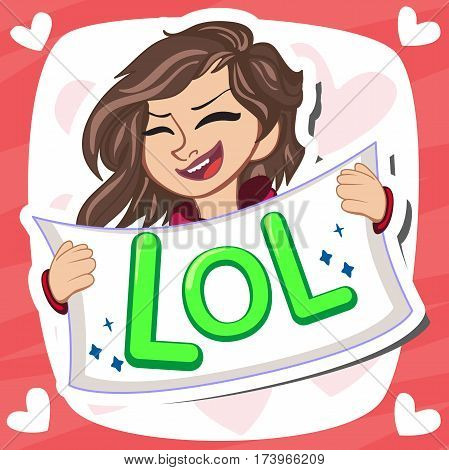 Comic speech, emotional text Lol and open female mouth laughing. Vector bright dynamic cartoon illustration isolated. Cute small princess. Poster design. Vector illustration.