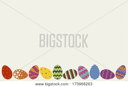 Background of the Easter card. Depicted ten Easter eggs different color and different designs on the beige background