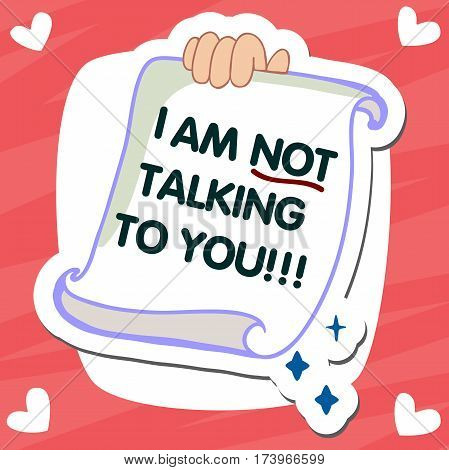 Email message concept. New, incoming message, sms. Hand holding envelope, letter. Delivery of messages, sms. Mail notification, sending messages. I am not talking to you. Coming messages
