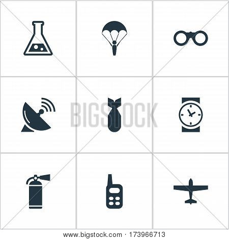 Set Of 9 Simple Military Icons. Can Be Found Such Elements As Watch, Nuke, Chemistry And Other.