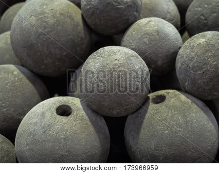 close up Stacked of ancient Cannonball random size