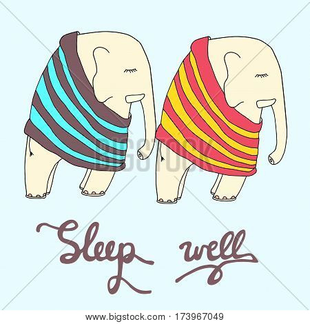 Sleep well illustration. Two cute sleeping elephants in stripped pajamas. Good night vector sketch.