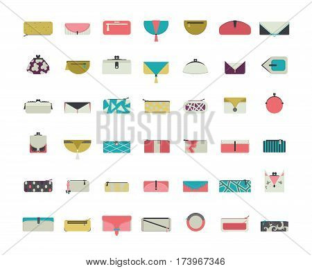 Vector set with stylish vogue purses and clutches for women in simple flat style. Design collection in different decoration styles in bright colors. Blue green and pink pouches and wallets icons.