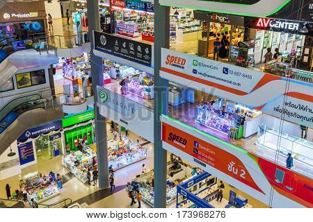 BANGKOK THAILAND - JANUARY 30: This is Pantip Plaza electronics mall a well known electronics mall which stocks many major brands of consumer electronics on January 30 2017 in Bangkok