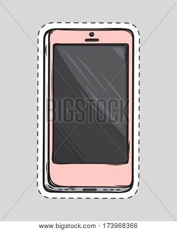Mobile phone patch. Cut it out of paper. Dashed lines. Portable cell phone. Personal phone.. Connection device. White smartphone. Editable items in flat style. Accessories for work in office. Vector