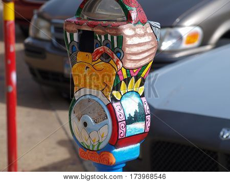 Parking meters in the Bishop Arts District in Dallas.