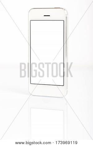 White Smart Phone Isolated On White
