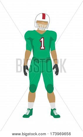 American football. Football player in green uniform, shoes and white helmet. Green football equipment. Sport team game. Cartoon icon of football player. American football sign. Sportsman logo. Vector