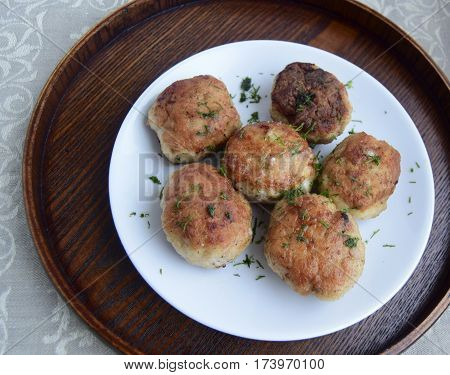 The cutlets made of meat. Cutlets are fried in house conditions.