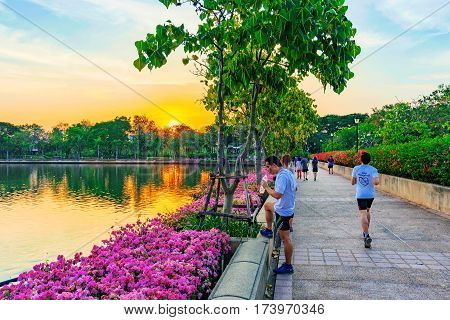 BANGKOK THAILAND - FEBRUARY 01: This is a jogging path in Benjakitti park where many people come to jog in the evening after work on February 01 2017 in Bangkok