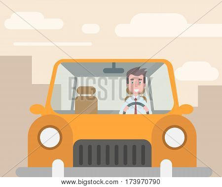 The manager went to the car to work. Vector illustration in a flat style
