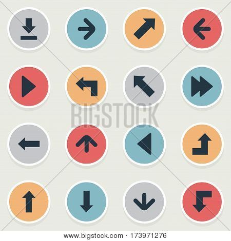 Set Of 16 Simple Indicator Icons. Can Be Found Such Elements As Left Landmark , Left Direction , Downwards Pointing.