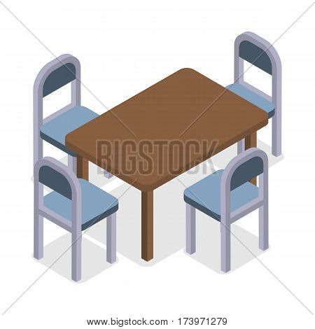 Chair and table isometric design. Dinner table chair isolated, isometric furniture, room interior, home furniture indoor and office desk vector illustration. Four modern chairs and kitchen table