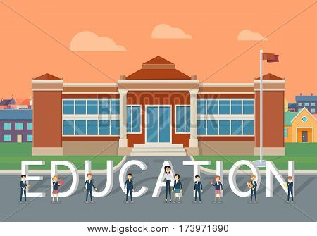 School education concept. Classic school building with happy pupil and teacher on school yard flat vector illustration. Children learning favorite school subjects. For private school or college ad