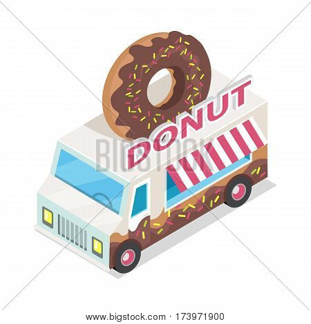 Donut trolley in isometric projection style design icon. Street fast food concept. Food truck with umbrella illustration. Isolated on white background. Doughnut mobile shop. Vector illustration