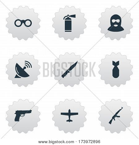 Set Of 9 Simple Military Icons. Can Be Found Such Elements As Kalashnikov, Nuke, Air Bomber And Other.