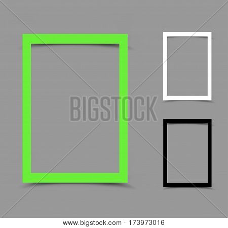 Piece of white green, black and white vertical paper frame for note, message, quote or picture with the shadow on gray background. Easy to edit different colors