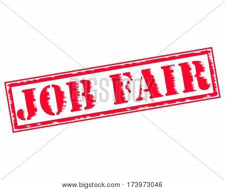 JOB FAIR RED Stamp Text on white backgroud