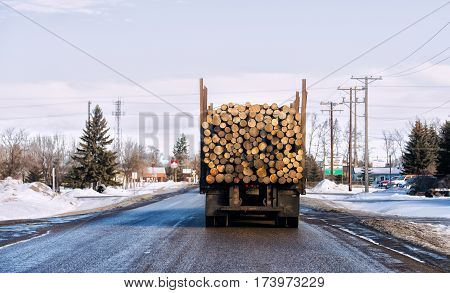 The back end of a tractor trailer loaded with cut logs entering a town in a winter landscape