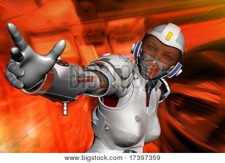 Robot  on a  abstract background