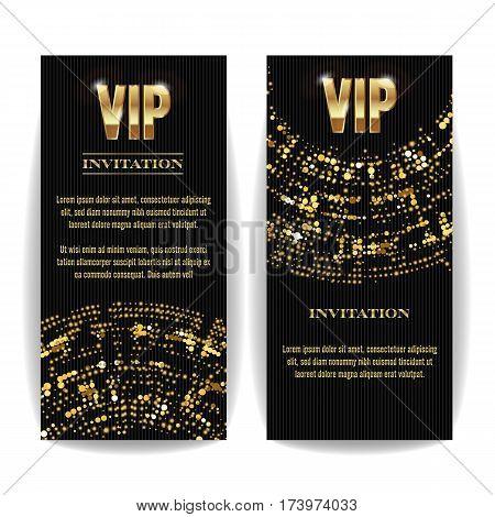 VIP Invitation Card Vector. Party Premium Blank Poster Flyer. Black Golden Design Template. Decorative Template Background. Mosaic
