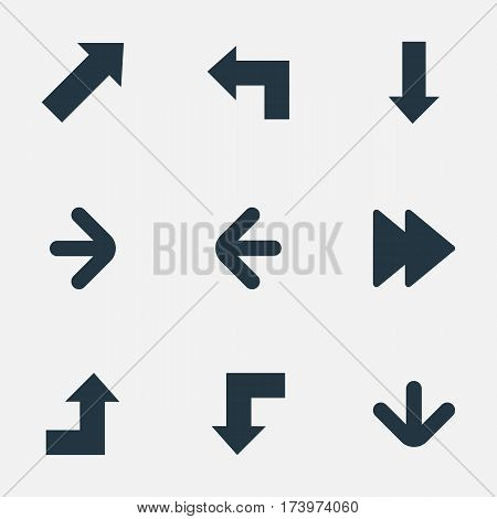 Set Of 9 Simple Indicator Icons. Can Be Found Such Elements As Increasing, Downwards Pointing, Indicator And Other.