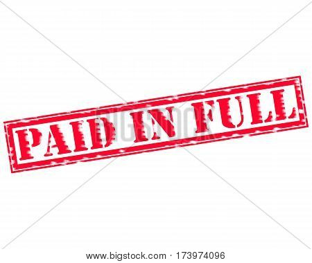 PAID IN FULL RED Stamp Text on white backgroud