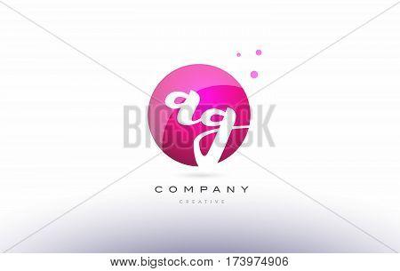 Ag A G  Sphere Pink 3D Hand Written Alphabet Letter Logo