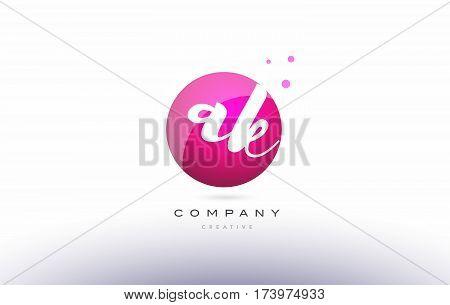 Ak A K  Sphere Pink 3D Hand Written Alphabet Letter Logo