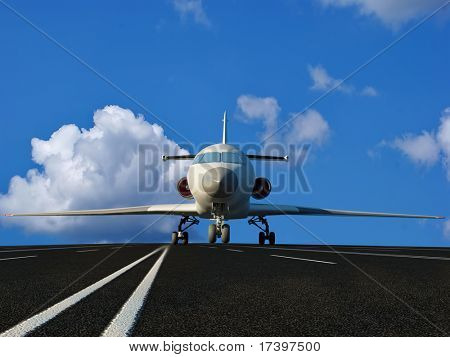 The passenger plane on the runway poster